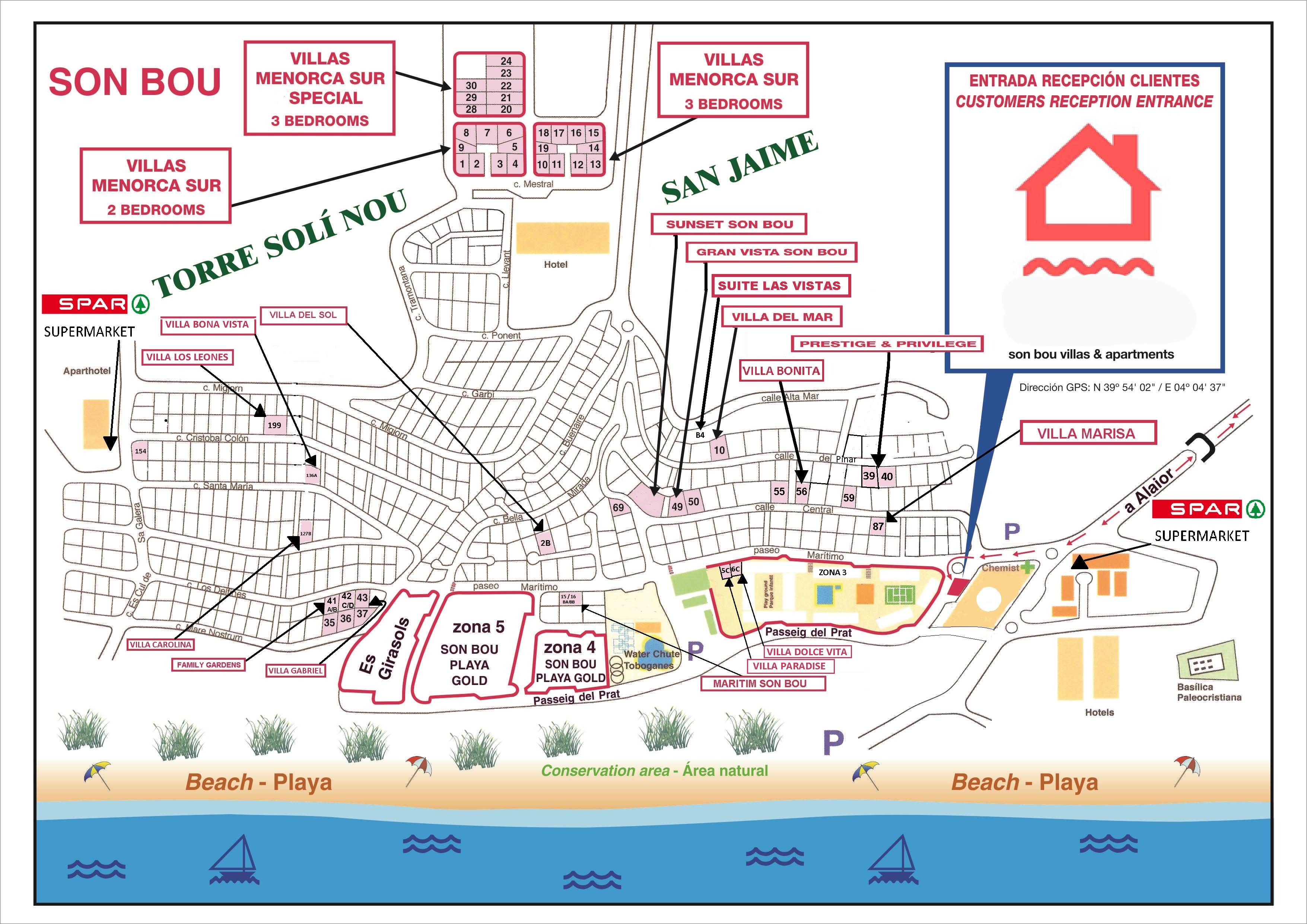 In Law Apartment Plans Son Bou Map Menorca Villas Villa Rental Menorca